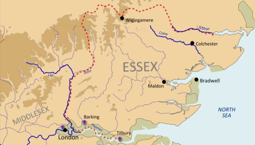 Map of Essex and surrounding area of when Sam went to view a crane.