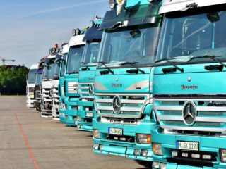 Front view of trucks